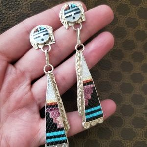 Zuni Eldred Martinez Inlay Sun God Earrings